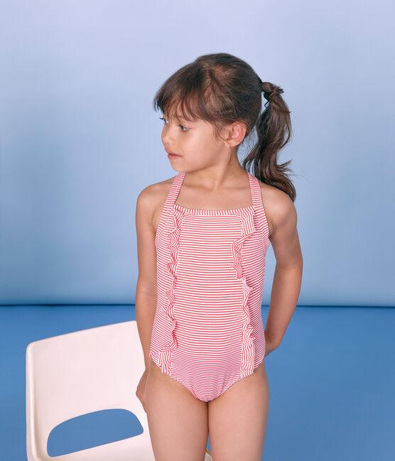 Maillot de bain 1 pièce enfant fille rose Petal / bleu Crystal