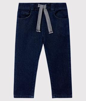 Pantalon bébé maille effet denim bleu Jean