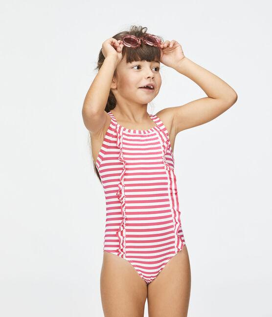 Maillot de bain protection solaire fille rose Geisha / blanc Marshmallow