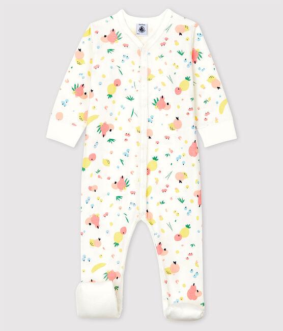 Dors-bien à pieds amovibles bébé fille en coton blanc Marshmallow / blanc Multico
