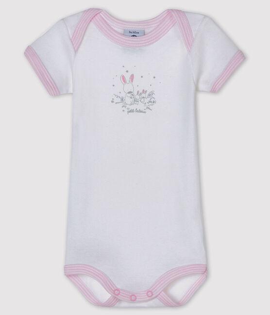 Body manches courtes bébé fille blanc Ecume / rose Doll