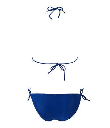 Maillot de bain femme 2 pièces uni bleu Perse