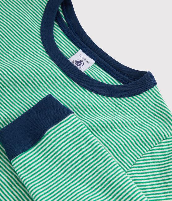 Pyjama milleraies vert petit garçon en côte vert Prado / blanc Marshmallow