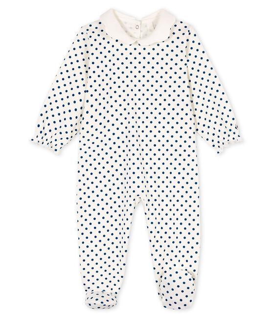 Dors bien bébé fille en côte blanc Marshmallow / bleu Contes