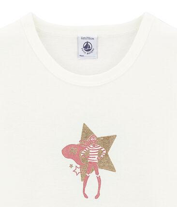 tee-shirt manches courtes petite fille blanc Marshmallow