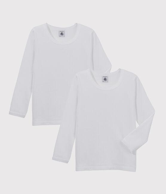 Lot de 2 tee-shirts blancs manches longues petite fille lot .