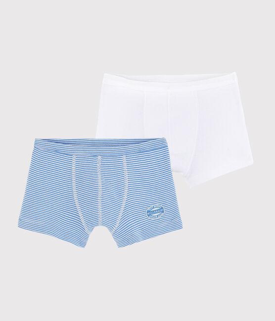Lot de 2 boxers milleraies bleues petit garçon en côte lot .