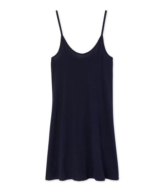 Chemise à bretelles femme en coton léger bleu Smoking