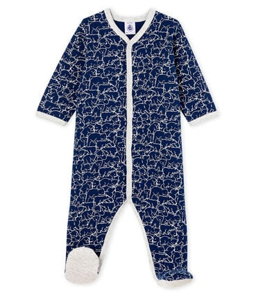 Dors bien bébé garçon en molleton bleu Major / blanc Marshmallow