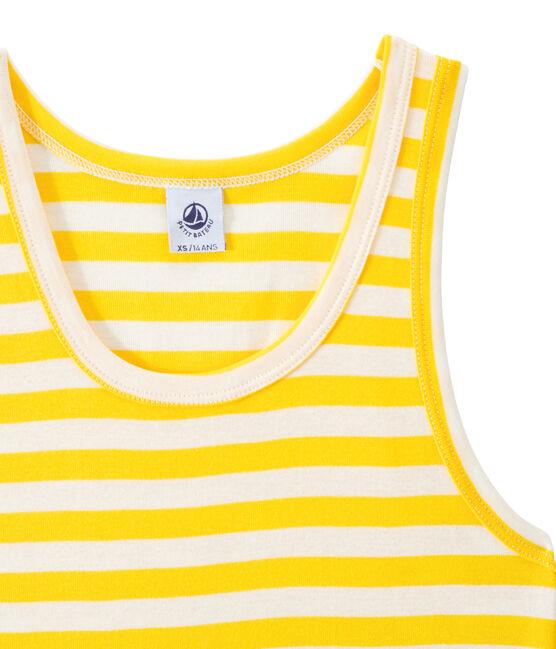 Débardeur femme en côte originale rayée jaune Shine / blanc Marshmallow
