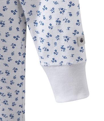 Pyjama combinaison fille imprimé blanc Ecume / bleu Bleu