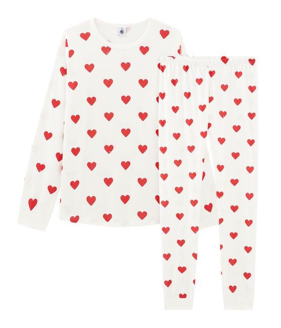 Pyjama cœur fille - garçon en côte blanc Marshmallow / rouge Terkuit