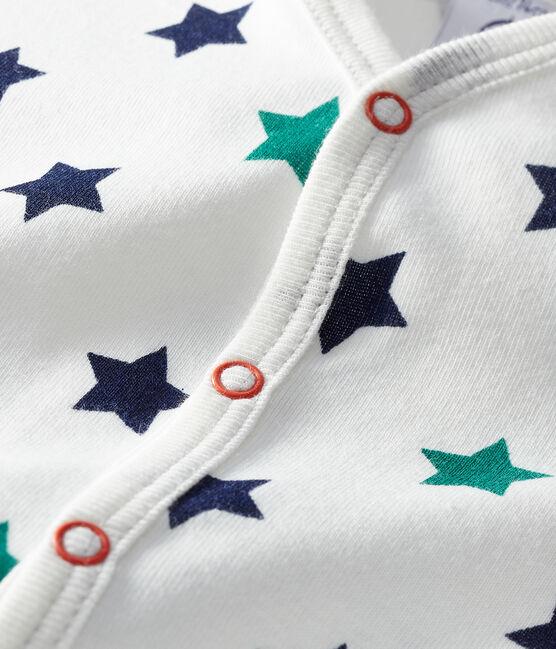 Combicourt bébé garçon en lin/coton blanc Marshmallow / blanc Multico