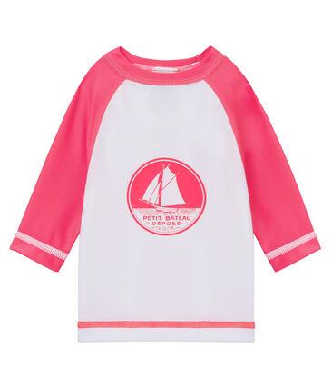 Tee-shirt manches longues protection solaire bébé mixte blanc Marshmallow / rose Cupcake