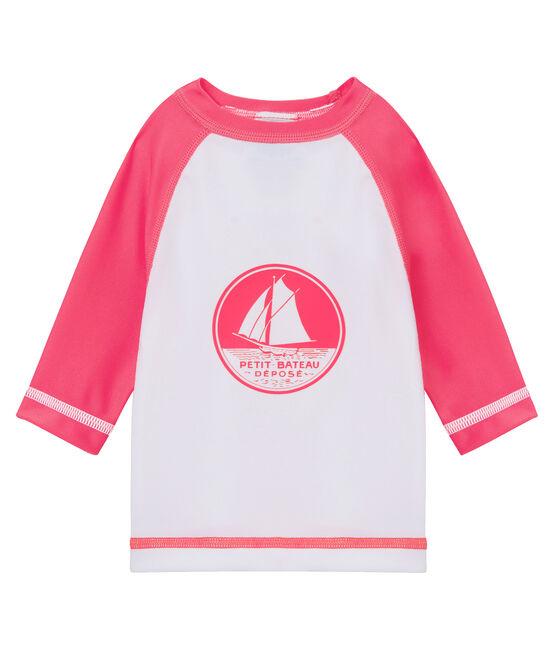 Tee-shirt anti-UV UPF 50+ bébé garçon/bébé fille blanc Marshmallow / rose Cupcake
