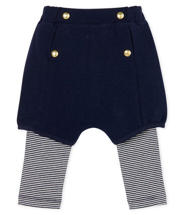 Legging avec short bébé fille bleu Smoking / blanc Marshmallow Cn
