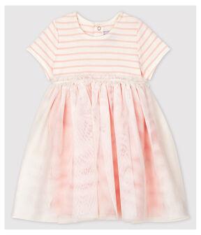 Robe bi-matières manches courtes bébé fille blanc Marshmallow / rose Minois