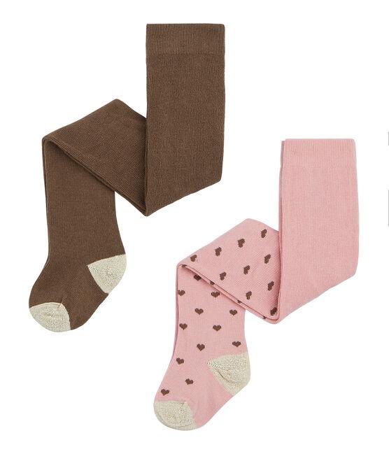 Lot de 2 paires de collants bébé fille rose Charme / blanc Multico