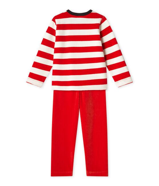 Pyjama garçon en velours rouge Froufrou / blanc Lait