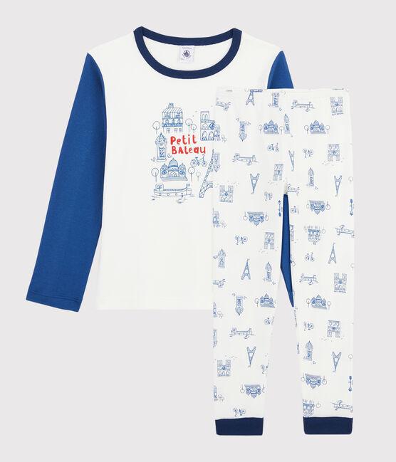 Pyjama motif Paris petit garçon en côte blanc Marshmallow / bleu Bleu