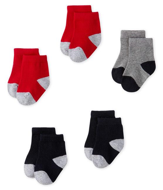 Lot de 5 paires de chaussettes bébé garçon bleu Smoking / rouge Terkuit