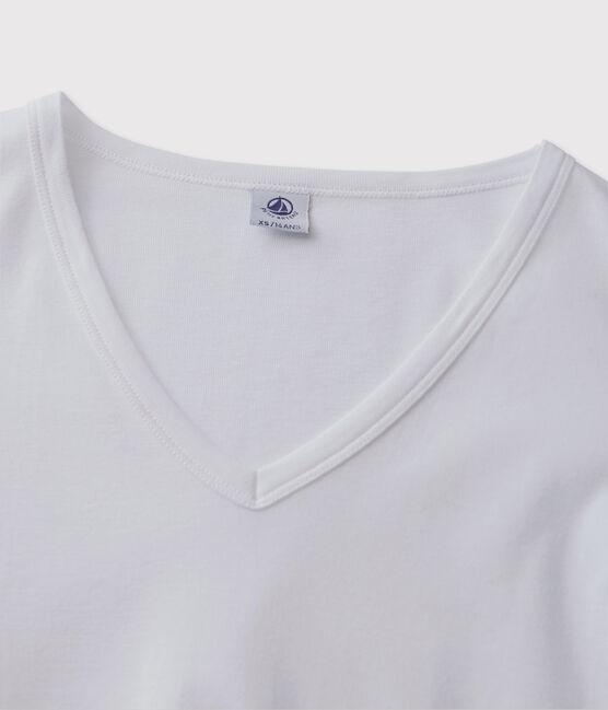 T-shirt iconique col V Femme blanc Ecume