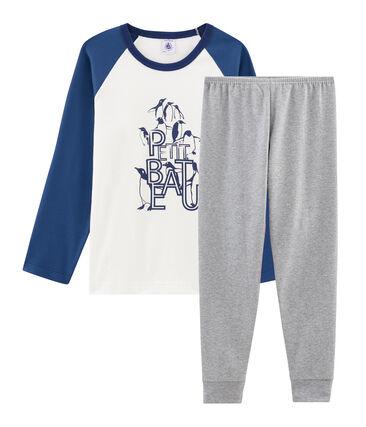 Pyjama petit garçon en côte gris Subway / blanc Multico