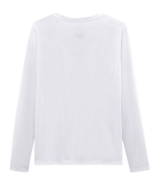 Tee-shirt manches longues femme en coton sea island blanc Ecume
