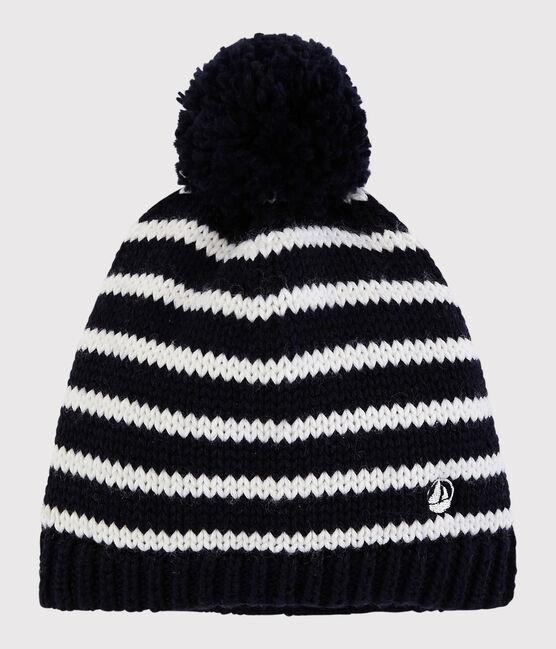 Bonnet en tricot enfant garçon - fille bleu Smoking / blanc Marshmallow