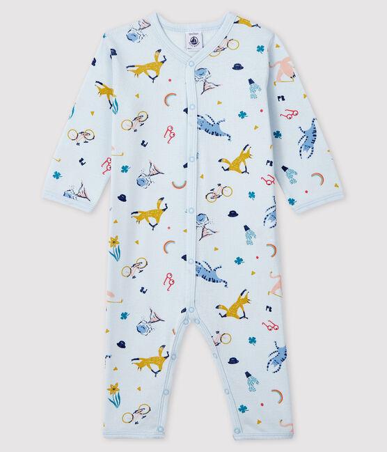 Dors-bien bleu à imprimé animaux bébé garçon en côte bleu Fraicheur / blanc Multico