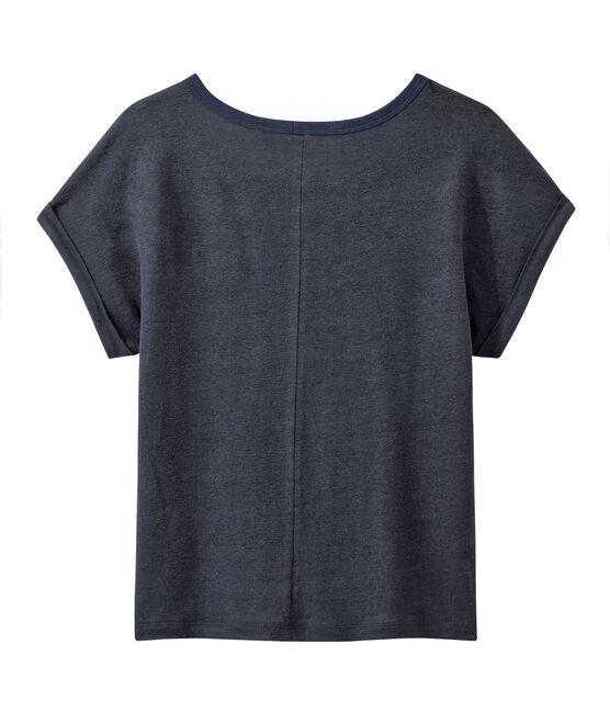 Tee-shirt fluide femme en lin bleu Smoking