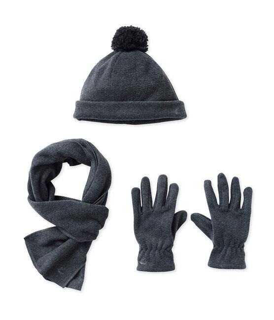 Bonnet, gants et écharpe en polaire gris City Chine