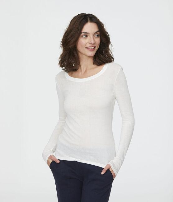 T-shirt côte légère Femme blanc Marshmallow