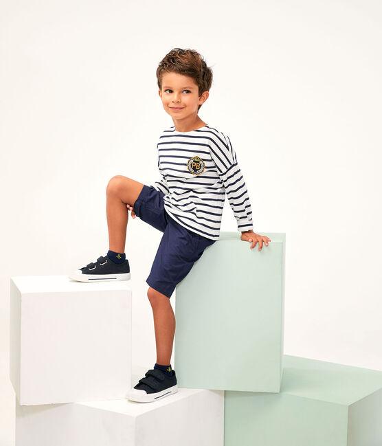 Tee-shirt enfant garcon blanc Marshmallow / bleu Smoking