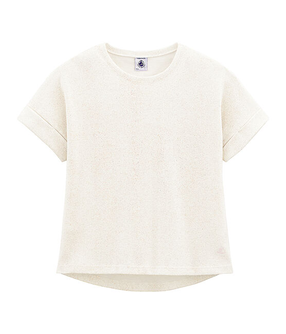 Tee-shirt à manches courtes enfant fille blanc Marshmallow / rose Copper