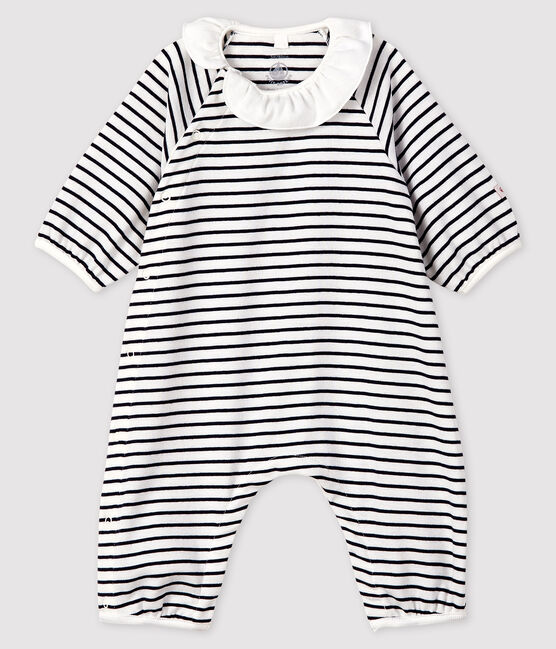 Combinaison longue à rayures bébé fille en côte blanc Marshmallow / bleu Smoking