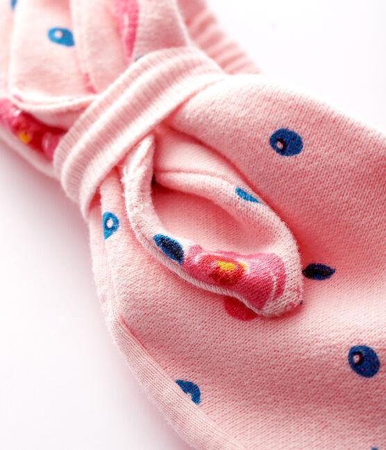 Bandeau à noeud bébé fille rose Minois / blanc Multico