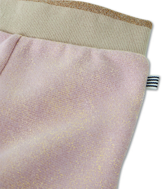 Pantalon molleton brillant bébé fille rose Joli / jaune Dore