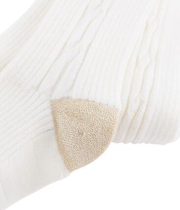 Collant chaud enfant fille blanc Marshmallow