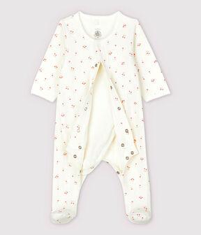 Bodyjama cerises bébé en tubique en coton biologique blanc Marshmallow / blanc Multico