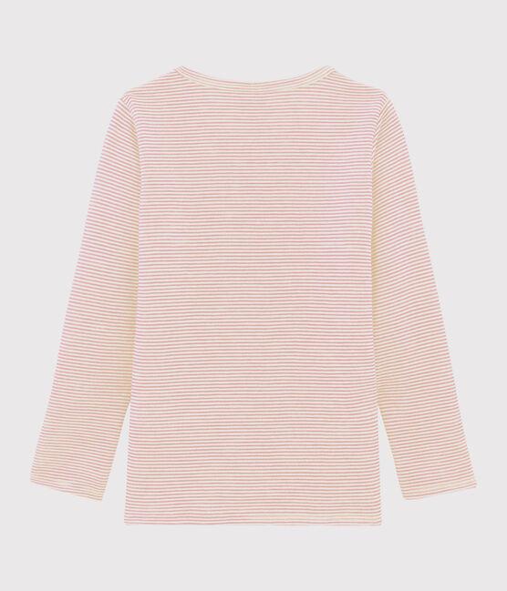Tee-shirt manches longues laine et coton milleraies petite fille rose Charme / blanc Marshmallow