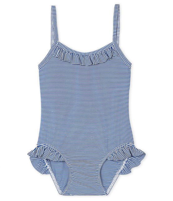 Maillot de bain une pièce UPF 50+ bébé fille bleu Surf / blanc Marshmallow