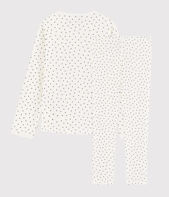 Pyjama à petits cœurs petite fille en coton blanc Marshmallow / bleu Medieval