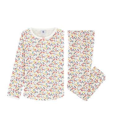 Pyjama petite fille en côte blanc Marshmallow / blanc Multico