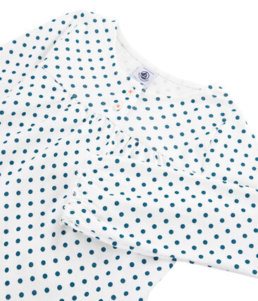 Pyjama petite fille en côte blanc Marshmallow / bleu Contes