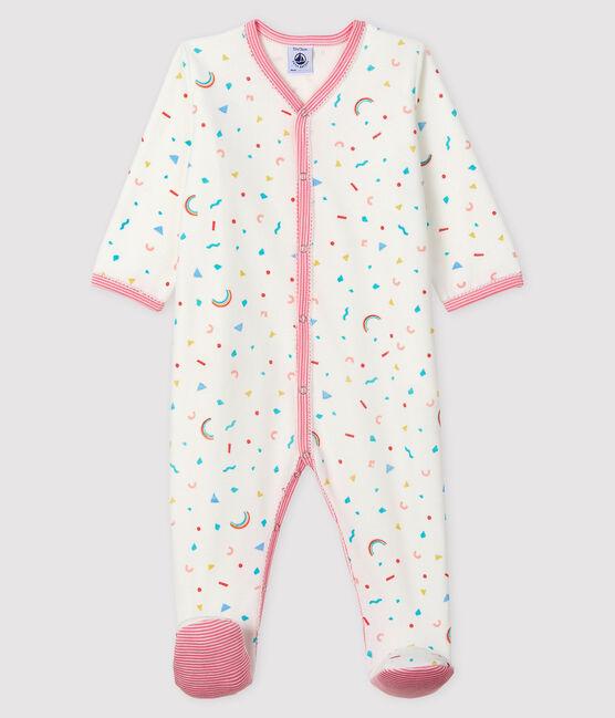 Dors-bien imprimé confettis bébé fille en velours blanc Marshmallow / blanc Multico