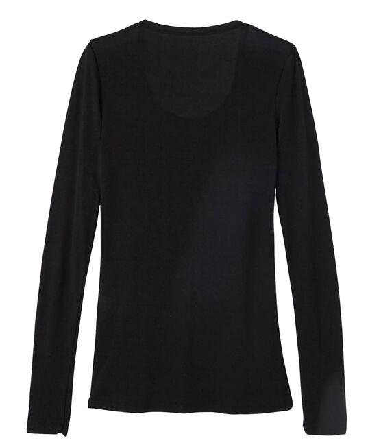 Tee shirt manches longues col danseuse femme noir Noir