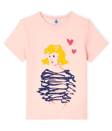 Tee-shirt manches courtes enfant fille rose Minois
