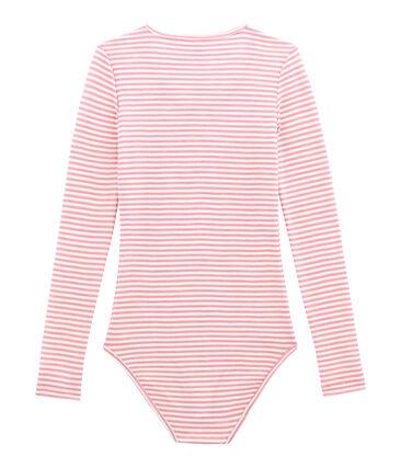 Body coton et laine pour femme rose Cheek / blanc Marshmallow