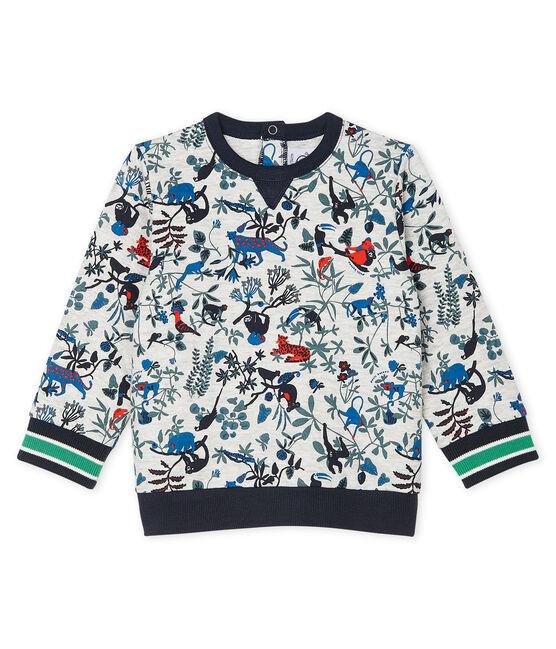 Sweatshirt bébé garçon en tubique matelassé gris Beluga / blanc Multico